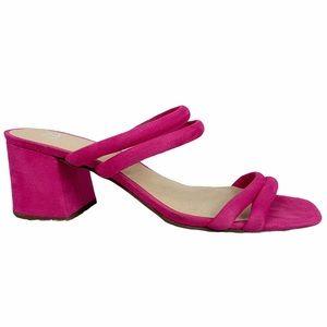 BP Lucia Hot Pink Block Heel Slide Sandals 8.5M
